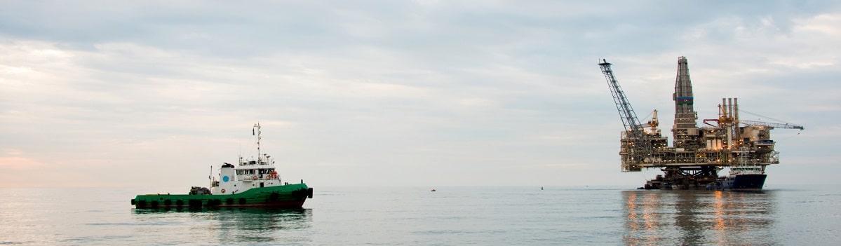 Oil platform in the sea