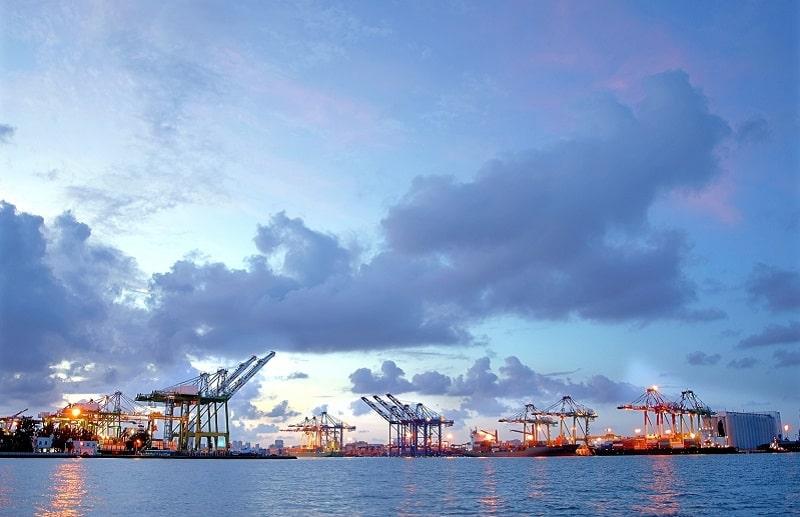 Harbor with cranes
